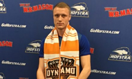 GOODBYE AND THANK YOU: Midfielder Joseph Holland has a few words for Hofstra
