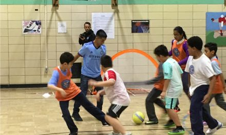 AFTERNOON KICK ABOUT: NYC FC newcomer Maxi Moralez plays soccer with school children