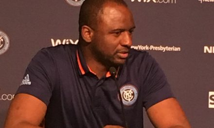 PLAYING AROUND: Vieira has some fun with his team