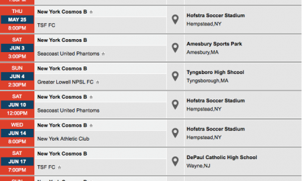 CIRCLE THOSE DATES: Cosmos B schedule for the NPSL season