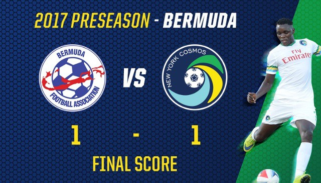 UNBEATEN PRESEASON: Flores' late goal lifts Cosmos to tie with Bermuda national team