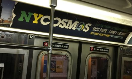 CAUGHT ON THE D TRAIN: Cosmos advertising their game at Coney Island