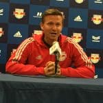 EXPLAINING THE LOSS: Marsch talks to the media after the 2-1 setback