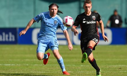 A HEADY PLAY: McNamara helps give NYCFC a 1-1 draw at FC Dallas