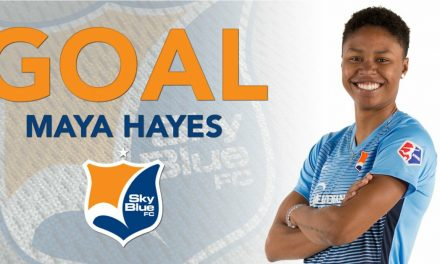 SAY HAYES: Maya Hayes lifts Sky Blue FC to another late win