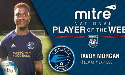 "NPSL PLAYER OF THE WEEK: Elm City Express forward Tavoy ""Bull"" Morgan"