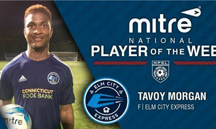 "NPSL PLAYER OF THE WEEK: Elm City Express forward Tavoy ""Bull"" Morgan"