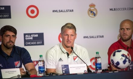 MLS ALL-STAR GAME PRESSER: With Bradley, Schweinsteiger and Veljko Paunovic