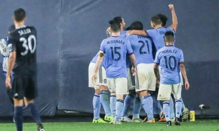 CATCHING HIS BREATH: Harrison gets a break and gives NYCFC a big goal