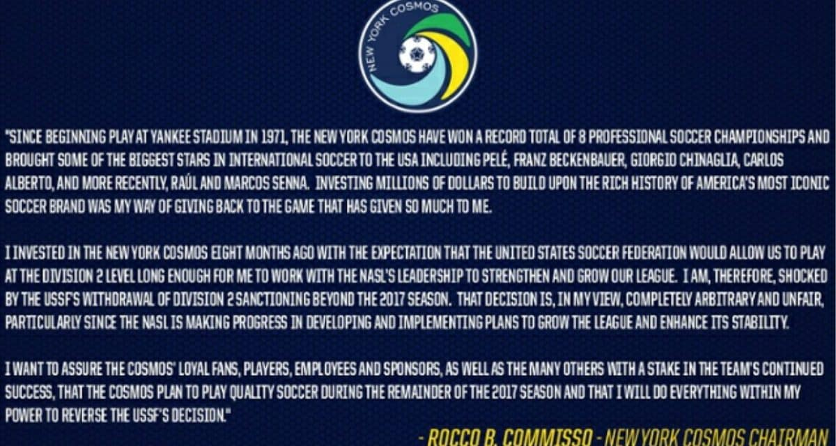 HERE'S WHAT ROCCO HAD TO SAY: Commisso's entire statement on U.S. Soccer's withdrawal of D2 sanctioning