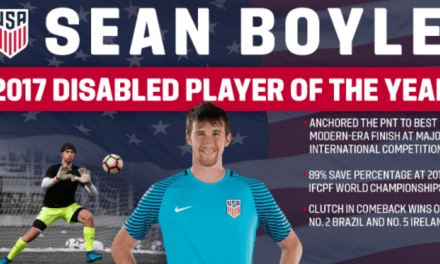 AT THE TOP OF HIS GAME: Paralympic national team GK Boyle U.S. Soccer Disabled Player of Year