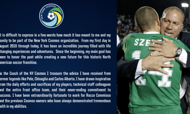 BIDDING FAREWELL: Savarese thanks the Cosmos and their fans