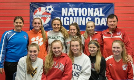 THE NEXT STEP: Eight Internationals SC players sign their letters of intent