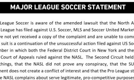 MLS RESPONSE: No comment yet — league has not received copy of NASL complaint