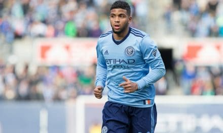 HE'S RIGHT ON TARGET: Deputizing for Villa, Tajouri tallies in his 1st NYCFC start with his 'wrong foot'