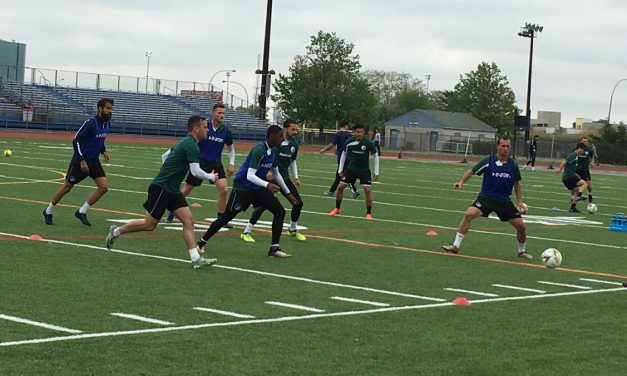 A KICK AROUND: Cosmos B trains for Italians