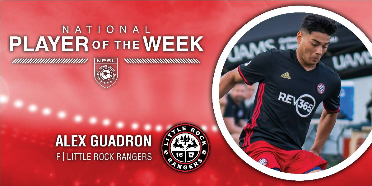 LITTLE ROCK AND A HARD PLACE: Little Rock Rangers' Alex Guadron (4 goals) NPSL player of the week