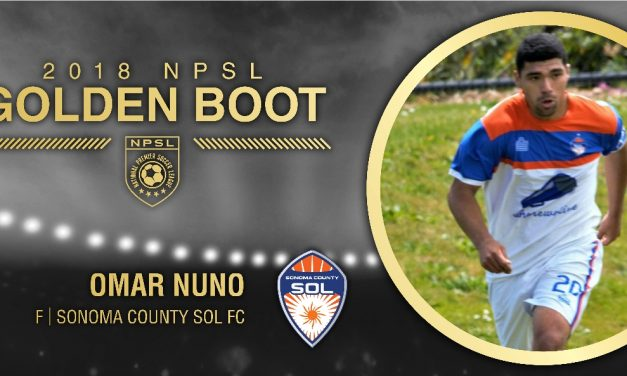 GETTING THE (GOLDEN) BOOT: Sonoma County Sol FC's Nuno wins NPSL scoring title