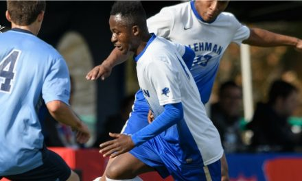 LIGHTNING CAN STRIKE TWICE: Lehman men defeat Sarah Lawrence, 3-0, as Moro scores winner again