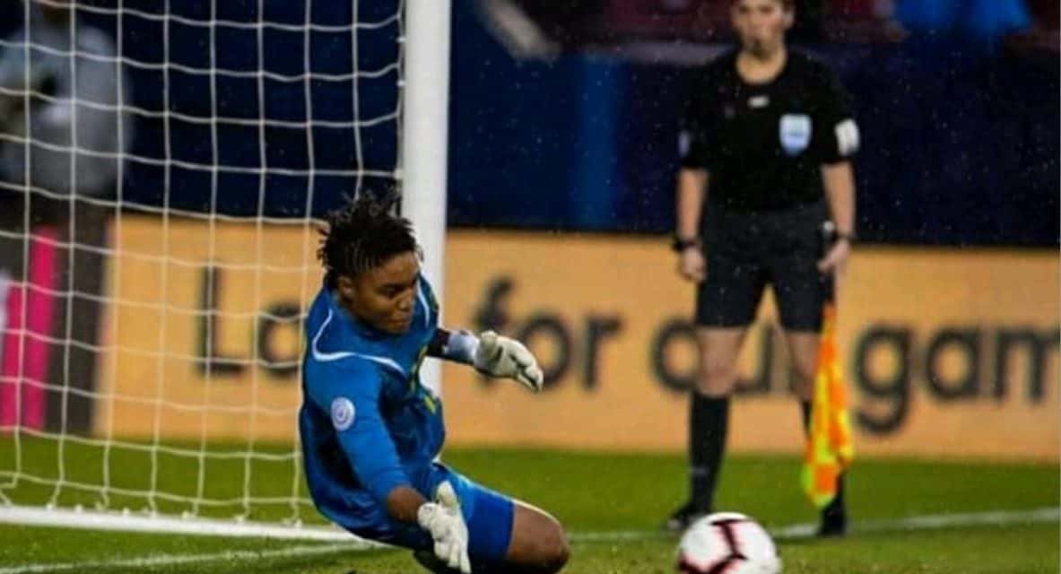 REGGAE GIRL, JAMAICAN WOMAN: Nicole McClure (East Meadow Shooting Stars) waits her turn and turns 2 penalty-kick saves into a World Cup ticket