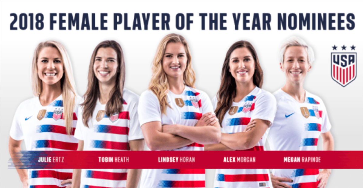 THE FINAL FIVE: Ertz, Horan, Heath, Morgan, Rapinoe vie for U.S. female player of the year