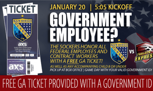 GIVING SOMETHING BACK: Furloughed workers can watch San Diego Sockers for free Sunday