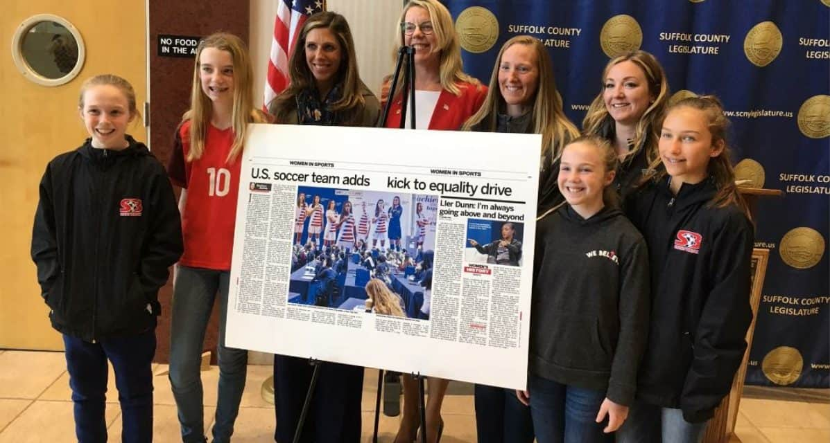 AND YOU CAN QUOTE THEM: Video of Suffolk County Legislator Hahn, daughter kicking off petition drive for gender equity for USWNT
