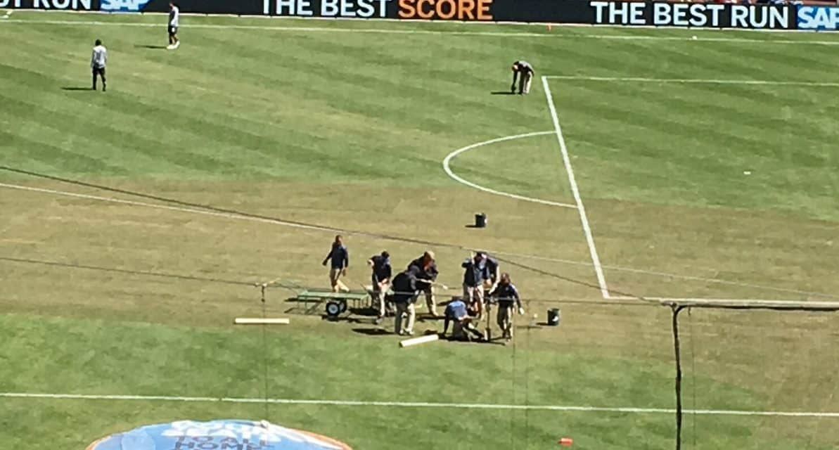 IT CERTAINLY WASN'T A FIELD DAY: Yankee Stadium pitch is a bitch to play on for some players