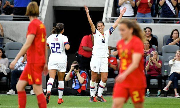 HEAD OF THE CLASS: U.S. women strike 5 times via headers in 6-0 walkover of Belgium