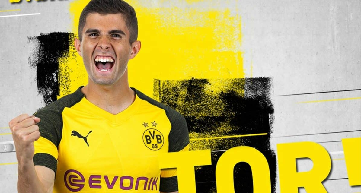 AN EMOTIONAL FAREWELL: Pulisic scores in his final home game for Dortmund