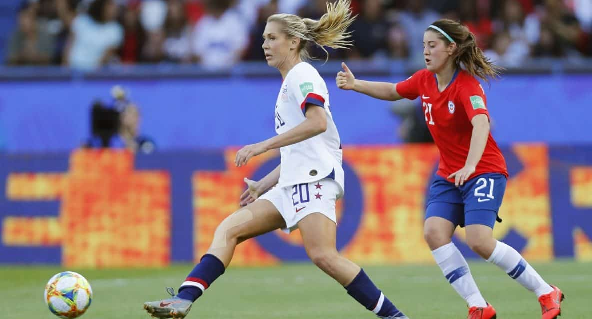 LONGING FOR A DEBUT NO LONGER: Allie Long takes the Women's World Cup stage at the home of her former club, PSG