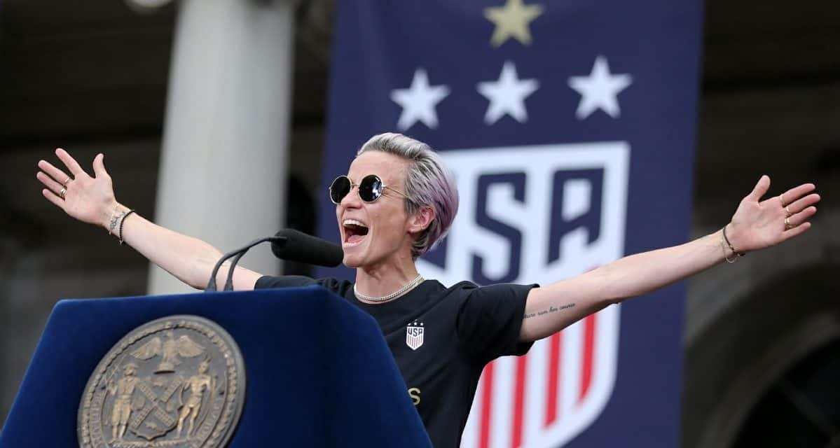 CENTER OF ATTENTION: Rapinoe – who else? – steals the show at U.S. women's celebration