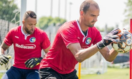 THE GOOD HANDS (AND ARMS) MAN: Cosmos' Blanchette keeps the ball out of the net and opponents frustrated