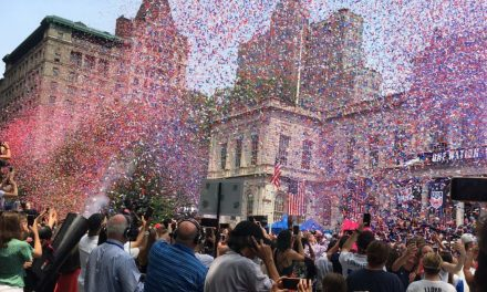 SOME CELEBRATORY WEATHER: It's snowing Red, White and Blue in July
