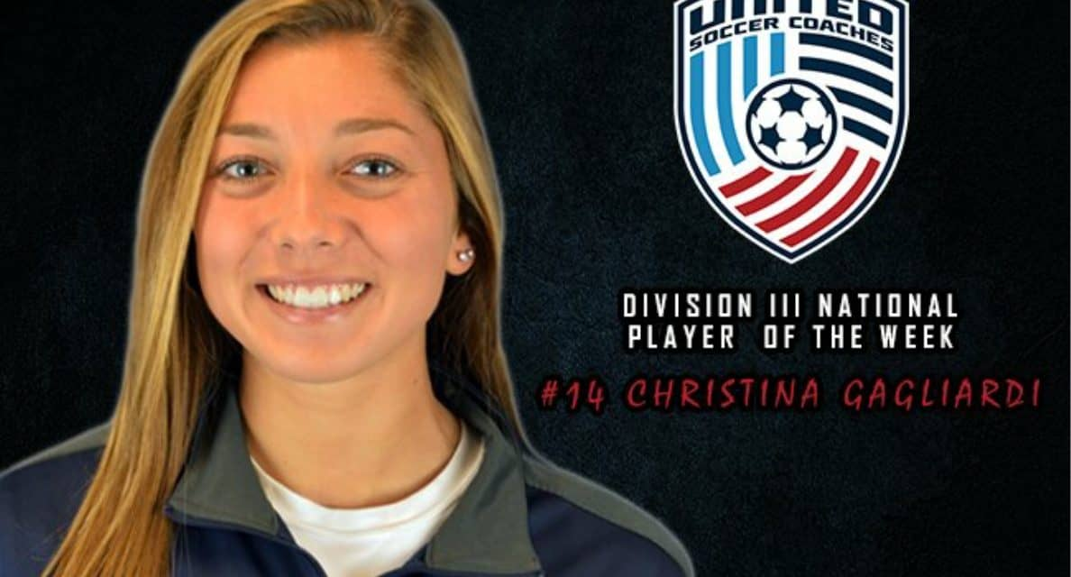 NATIONAL HONORS: St. Joseph's Gagliardi named United Soccer Coaches D-III women's player of the week
