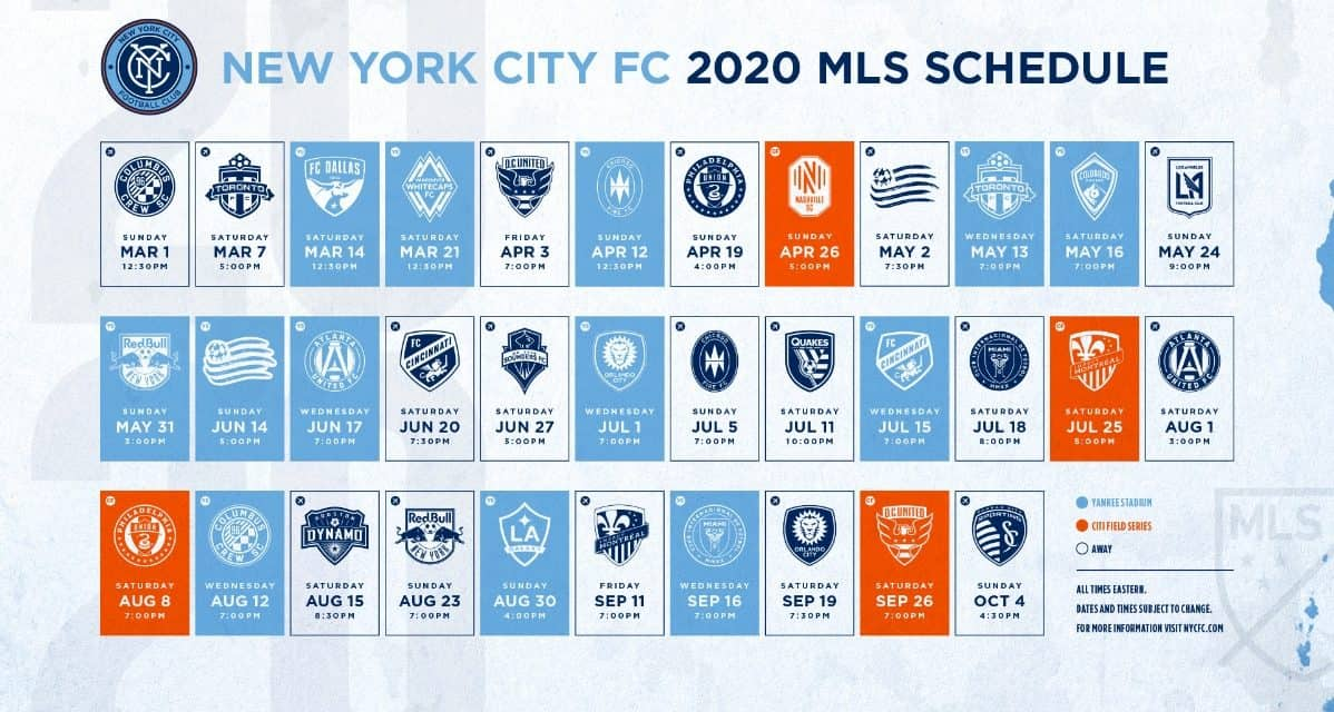 DERBY DAYS: NYCFC to host Red Bulls 5/31; play at RBA Aug. 23 as schedule is released