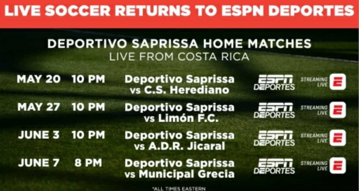 ARE YOU READY FOR SOME SAPRISSA?: ESPN Deportes to televise Costa Rican soccer starting Wednesday
