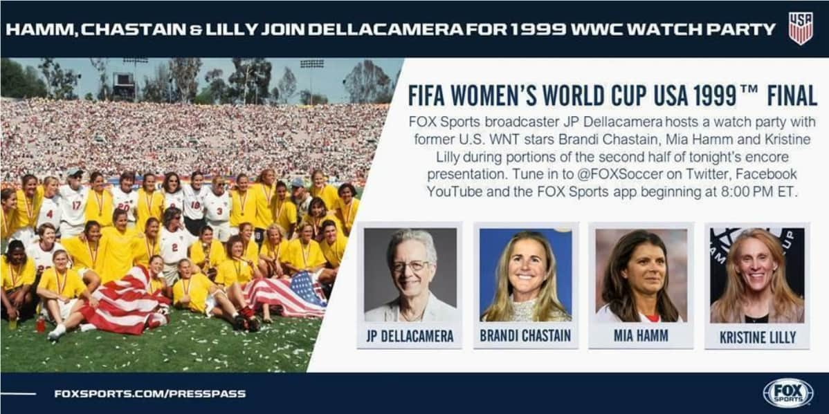 WATCH IT AGAIN: FOX Sports to show 1999 Women's World Cup final