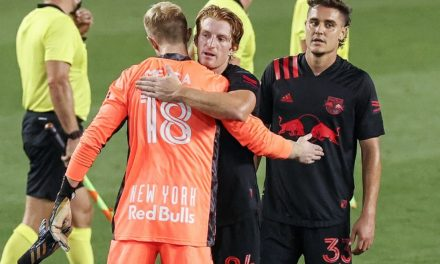 HE SHOWS HE'S A KEEPER: Meara stands tall in goal in Red Bulls' win