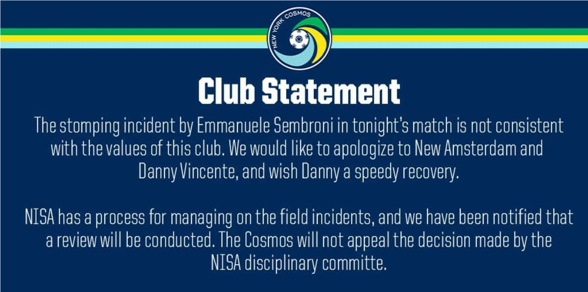 THEY'RE SEEING RED, TOO: Cosmos apologize for Sembroni stomping: 'not consistent with the values of this club'