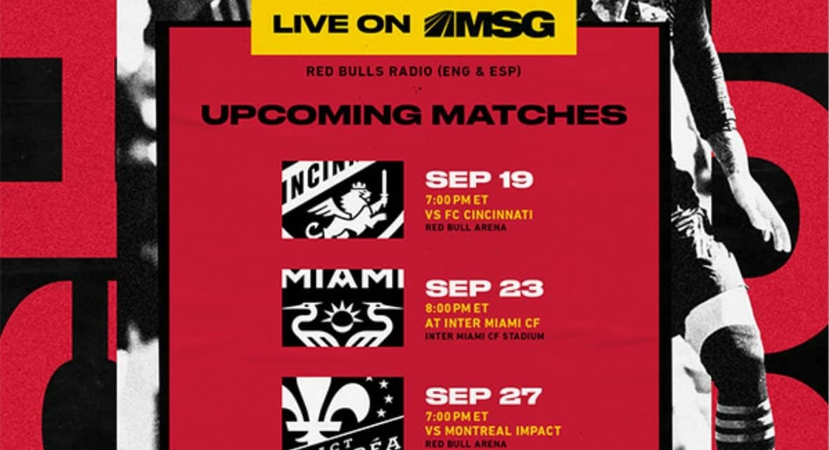FOR SEPTEMBER: Red Bulls to host 2 matches at RBA