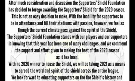 NO SUPPORT: Supporters' Shield Foundation won't award honor this season