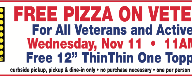 FREE PIZZA: For veterans, active military at Salvatore's on Veterans Day