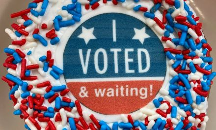 WAIT AND EAT: With an 'I Voted & Waiting!' donut