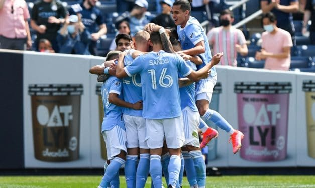 THE BACK-BREAKER: Thorarinsson's 1st NYCFC goal is one memorable free kick