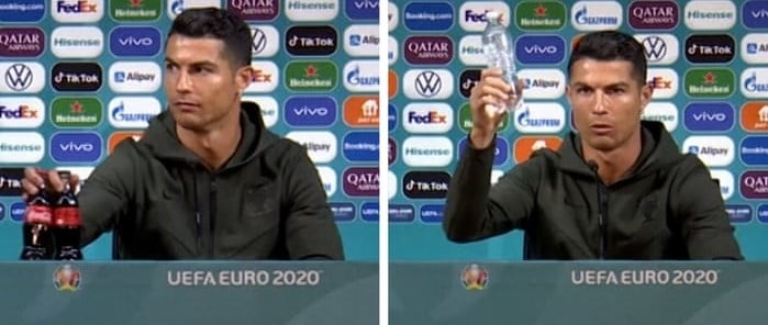 THINGS DON'T ALWAYS GO BETTER: Watch Ronaldo replace Coca-Cola with water