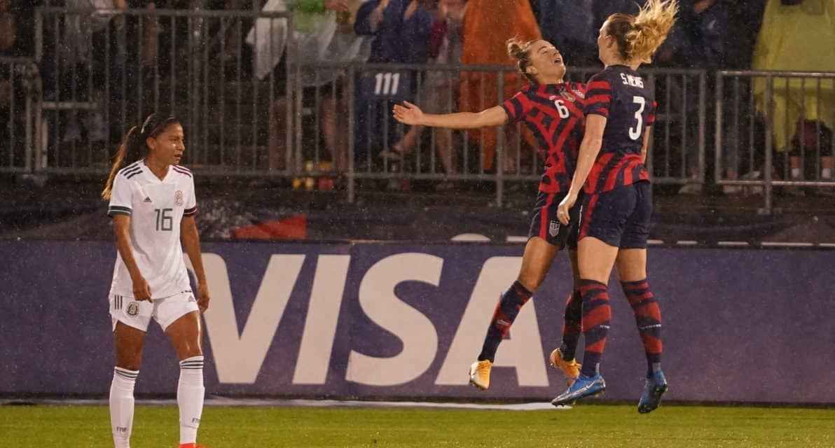 REIGNING IN THE RAIN: USWNT tops Mexico, 4-0, in Send-Off Series Opener